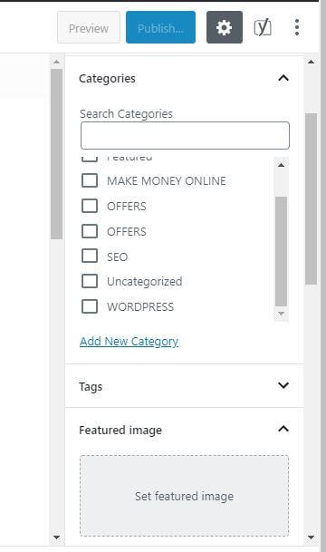 categories tab wordpress