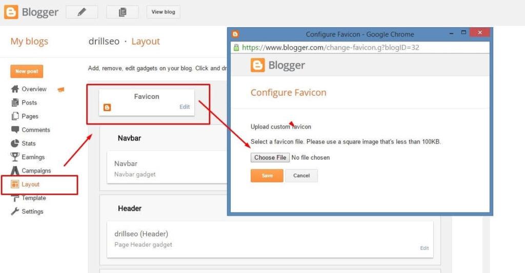 blogger favicon icon upload
