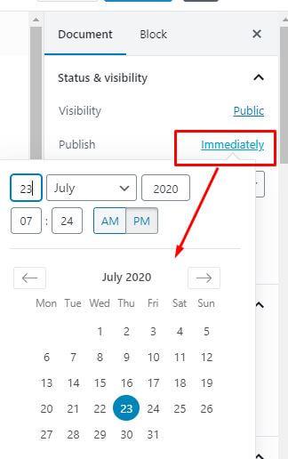 publish time wordpress